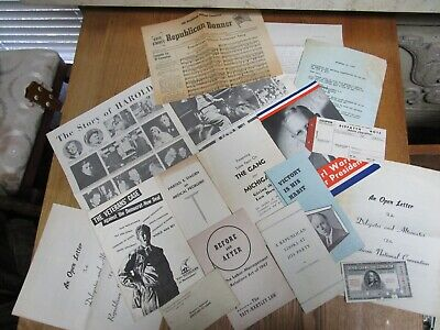 1948 Republican Party Ephemera Campaign Booklet Brochures Letters Papers Ticket