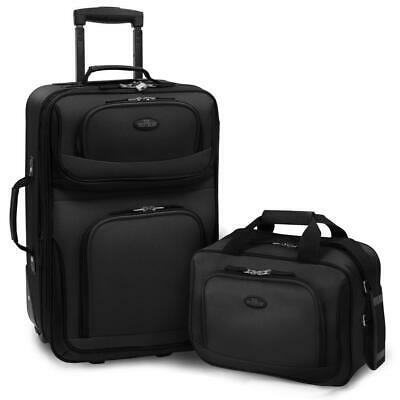 Carry-On Luggage Set 2 Piece Expandable Softside Lightweight Travel Bags Black