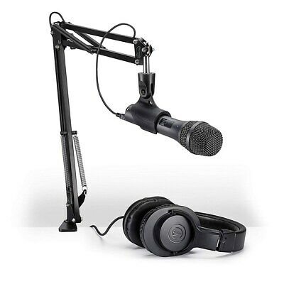 Audio-Technica AT2005USB Microphone Pack ATH-M20x Headphones Boom Mini-USB Cable