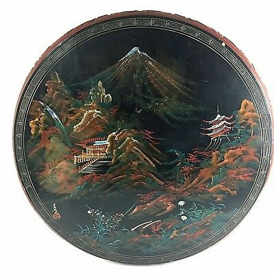 """Vintage Round Asian Table Carved Wood Painted Scene Mother of Pearl Inlay 29"""""""