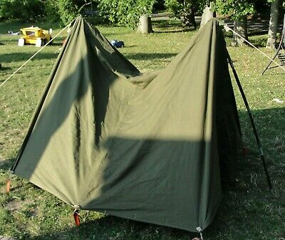 OLD US ARMY dated Pup Tent Shelter Halves & Poles & Stakes 1952