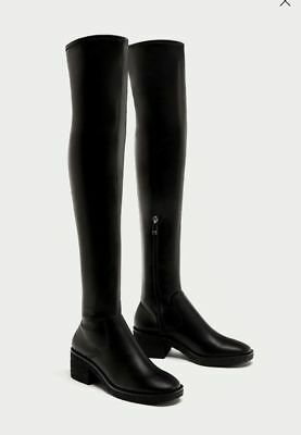 BURGUNDY ZARA RED Over The Knee Boots 4 37 New BNWT $42.46
