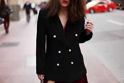 e01c5b2a NWT ZARA DOUBLE Breasted Jacket/blazer With Pearl Buttons Black 2410 ...