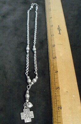 "VTG NECKLACE CROSS Sterling Silver 925 SIGNED AJM BEADED LINKS 10"" Beautiful ON"