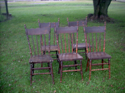 Antique/Vintage Oak Dining Chairs Set of 5 (w/Extra Rungs Made for Replacements)