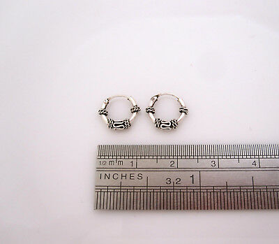 925 sterling silver small 10mm Bali style small hoops earrings