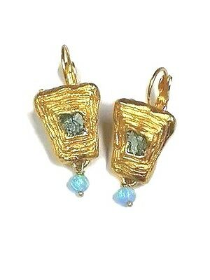 Roman Glass Ancient Fragments 200 B.C Gold P. Earrings Holy land Blue Opal