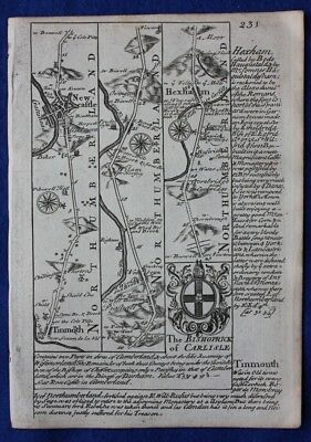 Original antique road map, NORTHUMBERLAND, CUMBERLAND, NEWCASTLE, Bowen, c.1724