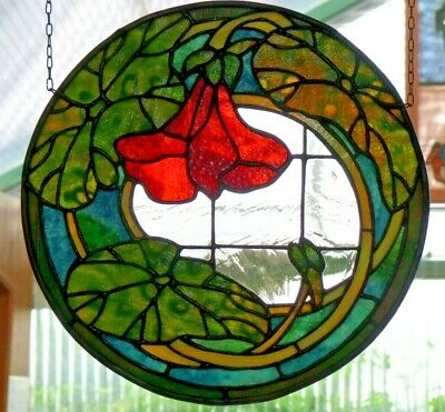 Leaded Glass Window Image Art Nouveau - Motif with Real - Glass Tiles in Tiffany