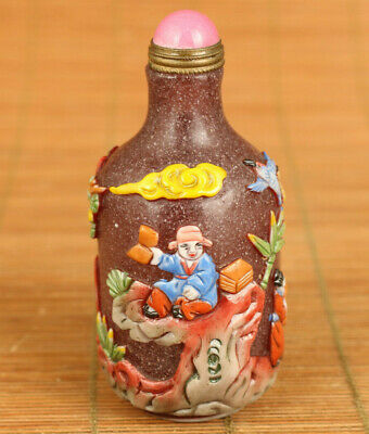 Rare chinese glaze Handcarved tree figure statue noble gift snuff bottle