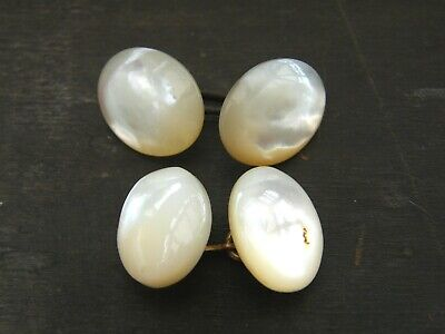 Antique-Victorian Pair Of Large Carved Mother Of Pearl Cabochon Cufflinks-c1880s