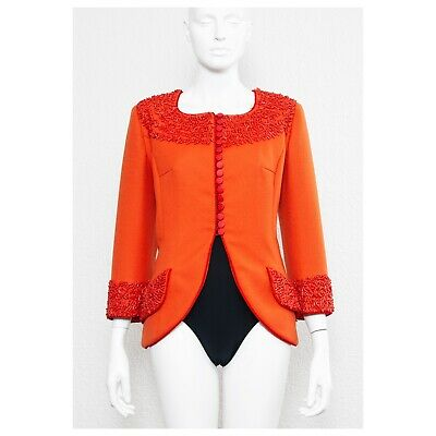 Rare vintage coral beaded 1970s Frank Govers couture cocktail jacket