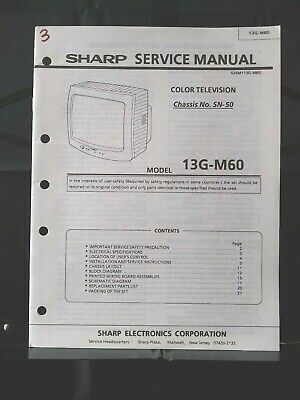 Sharp Service Manual Color Television Chassis No SN-50 Model 13G-M60