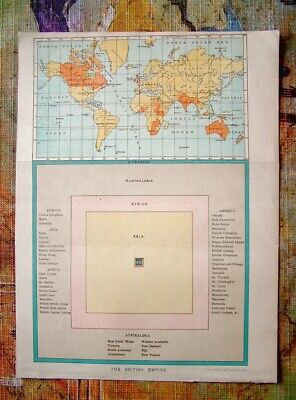 c1904 The British Empire - World Map and Diagram Showing Colonies by Cassell