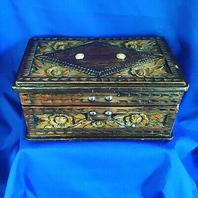 Interesting Vintage Hand Made  Wooden Box. Ornate Wood Carving to Lid