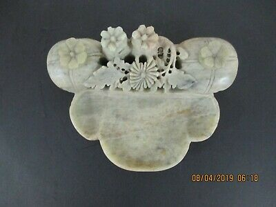 Antique Hand Carved Soap Stone Oriental Floral Inkwell Desk Set With Lids