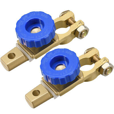 Car Battery Master Disconnect Switch Top Post Terminal Clamps Copper 2Pcs