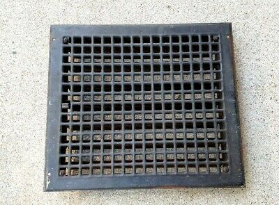 Vintage Cast Iron Floor Wall 14 x 16 opening Heat Grate Register Louvers Antique