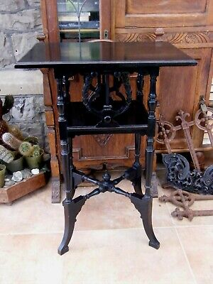 Antique-Victorian Ebonised Wooden Lyre Carved Sheet Music Storage Table-c1880