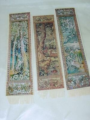 Vintage Three Bookmark Lot Art Collection  Wawel Poland Tapestry With Animals
