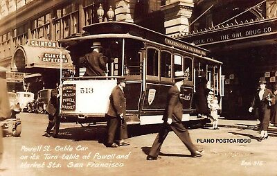 """San Francisco, California, """"Powell St. Cable Car @ Turntable"""" Rppc Real Photo Pc"""