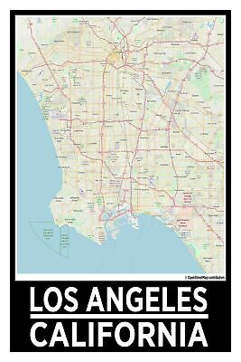Spitzy's Los Angeles California Map Poster - Home Wall Art for Your Bedroom o...