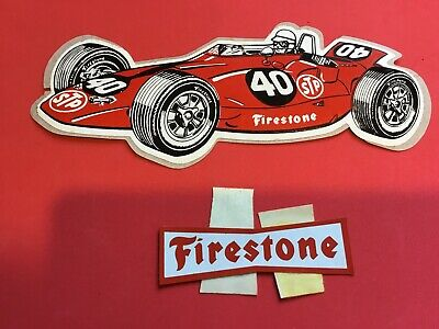 INDIANAPOLIS STP FIRESTONE RACE CAR #40 INDY HOT ROD DECAL VINTAGE ...
