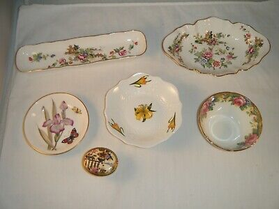 LOT of 6 Bone China England Trinket Pieces - Roy Worcester Aynsley Crown Strat..