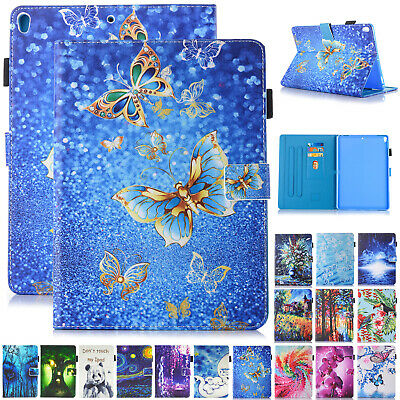For iPad Mini 5th 2019 Case Smart Painting Leather Card Holder Flip Stand Cover