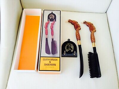 Vintage Collectable Equestrian Themed Horse Head Cloth Brush Shoe Horn Set