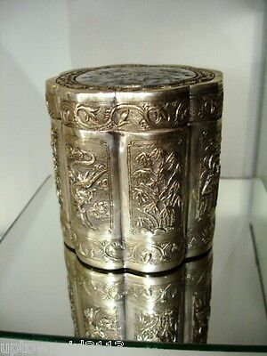 antique STERLING SILVER Chinese Tea Caddy dragon butterflies GOOD FORTUNE Canton