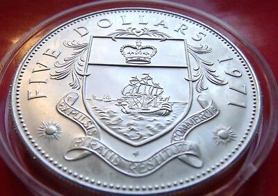 MATTE ISSUE BU PL .925 SILVER 1971 PROOF BAHAMAS FIVE DOLLARS 45MM with HOLDER