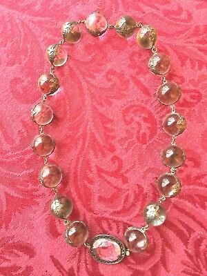 Antique Victorian Pools Of Light Crystal And Silver Necklace