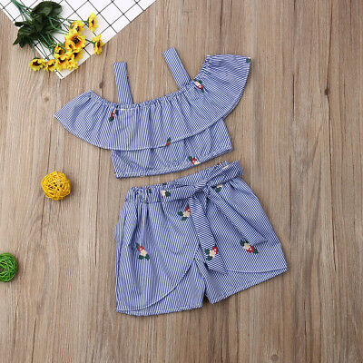 Toddler Kid Baby Girl Summer Clothes T-shirt Tops+Shorts Pants Outfits 0-4Years