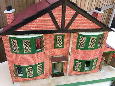 Vintage Beautiful Wooden Doll House /Cottage WITH GARAGE, VTG FURNITURE , TIN WI