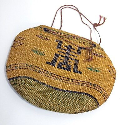 Vintage Oriental Chinese Woven Straw Jute Purse w/Symbol Early 20th Century