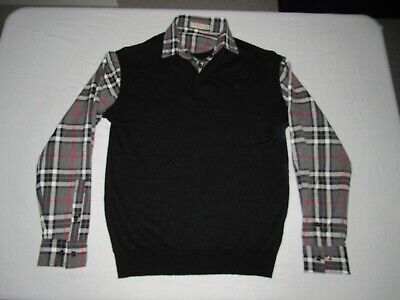 Burberry London Men's Black Gray Red White Plaid Long Sleeves Sweater Size XL