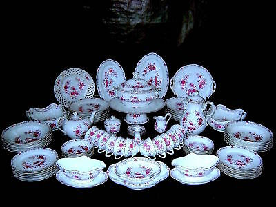 Vg German Hutschenreuther Maria Theresia Linderhof HP Porcelain Dinner Service 1