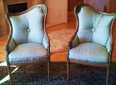 Pr. of Mint Vintage French Fireside Chairs