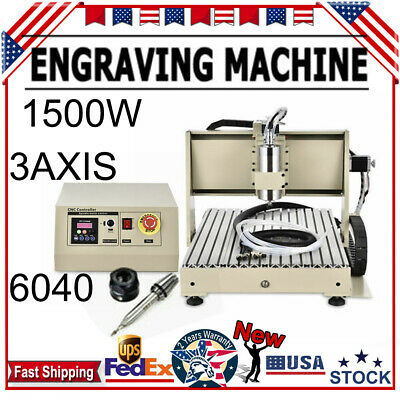 3Axis CNC 6040 Router Engraver Engraving Drilling + Milling Machine 3D Cut 1500W