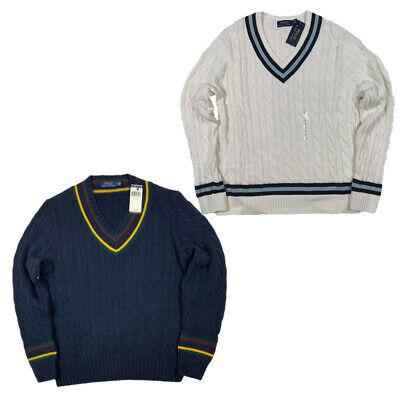 NWT VTG 90s Polo Ralph Lauren Men V-Neck Cable Knit cricket Sweater Creme RARE