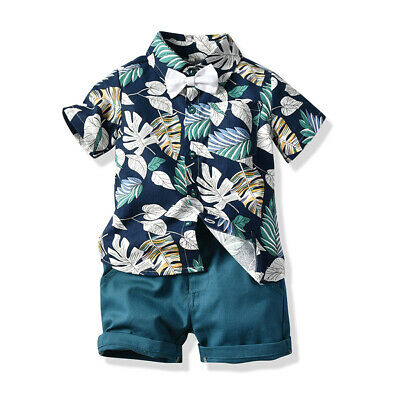 Toddler Kid Baby Boy Clothes Outfits Sets Beach Leaves Shirt Tops Shorts Pants