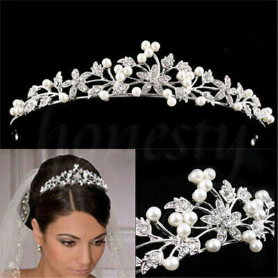 Princess Wedding Veil Tiara Pearls Crystal Prom Headband Bridal Hair Accessories