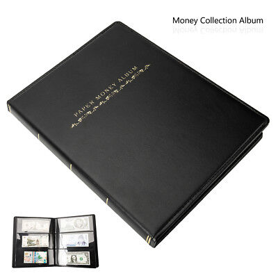 60 Pockets Paper Money Album Collection Banknote Stamps Soft Leather Book UK