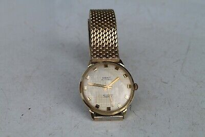 Rare Old Swiss Made Vintage Wrist Watch Man MERIT Automatic 25Jewels Gold Plated