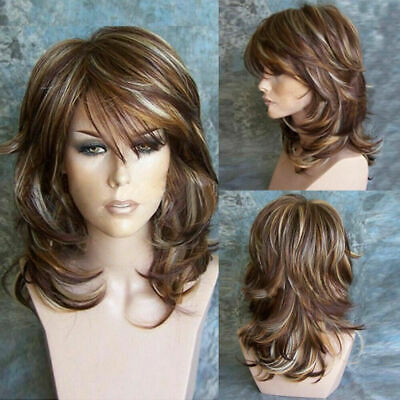 Women Brown Ombre Short Fluffy Curly Wigs Ladies Bob Wavy Hair Cosplay Wig HM
