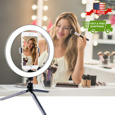 """10"""" LED Ring Light Studio Photo Video Selfie Camera Phone Dimmable Lamp Live"""