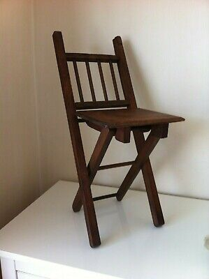 Vintage Child's Folding Wooden Chair - Great for Doll/Bear Display - VGC