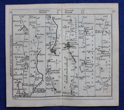 Original antique strip road map DURHAM, NORTHUMBERLAND, NEWCASTLE, Bowles c.1792