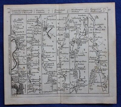Original antique road map LONDON, READING, NEWBURY, MARLBOROUGH, Bowles c.1792